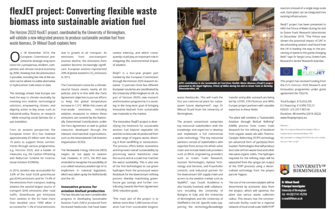 flexJET project: Converting flexible waste biomass into sustainable aviation fuel